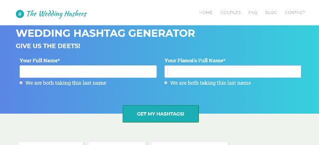 The Wedding Hashers Wedding Hashtag Generator