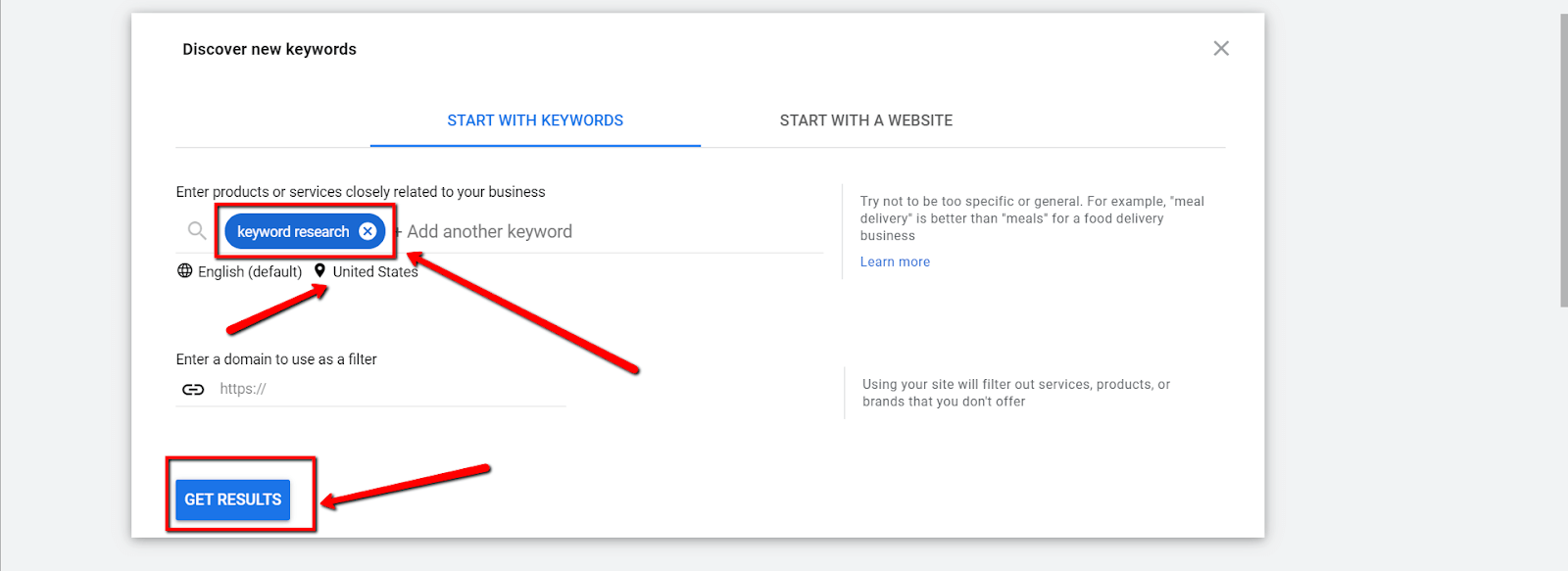 Google Keyword Planner keyword research for small businesses