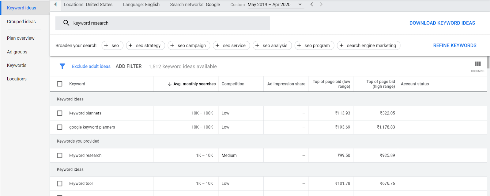 Google Keyword Planner2 keyword research for small businesses