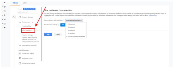 Google Analytics data retention policy