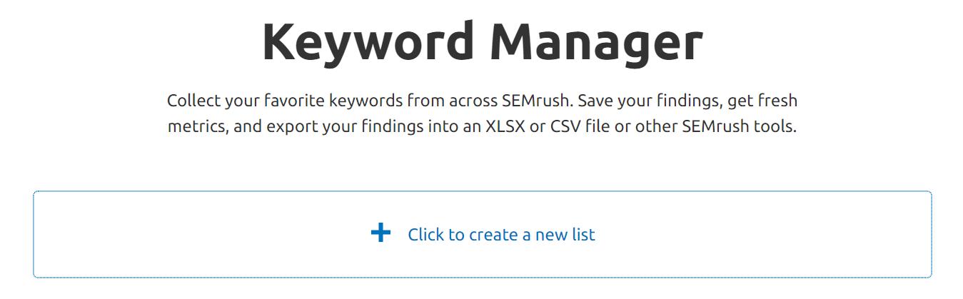 SEMrush Keyword Manager