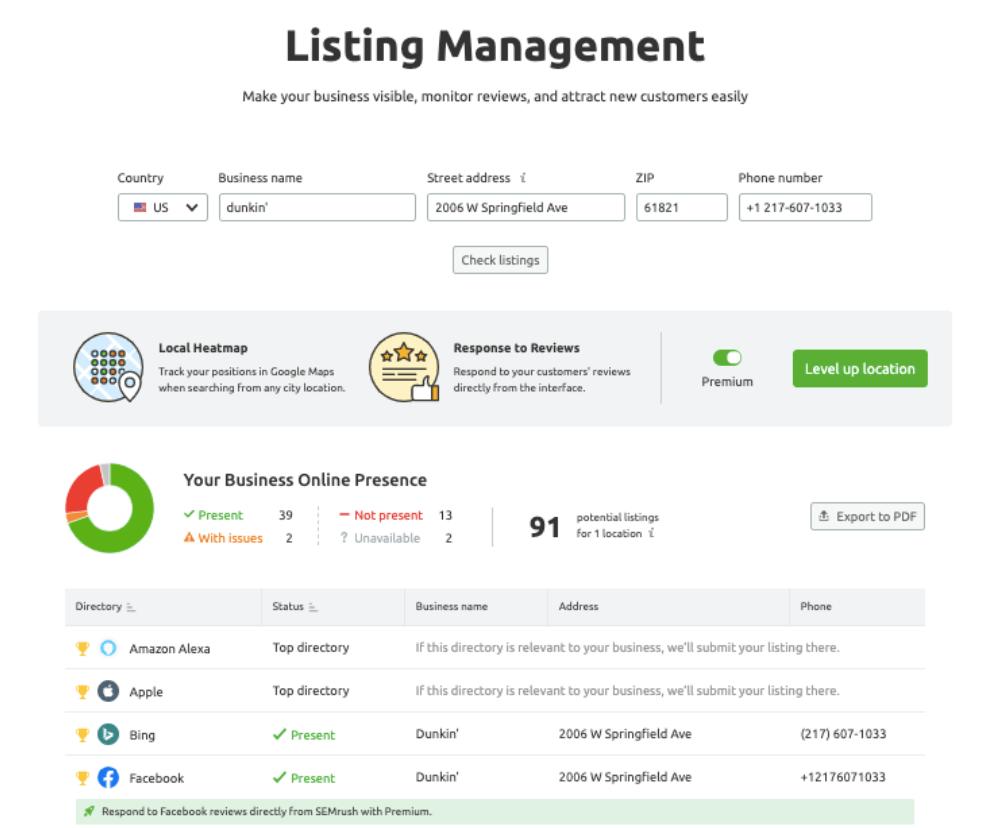 Semrush Listing Management