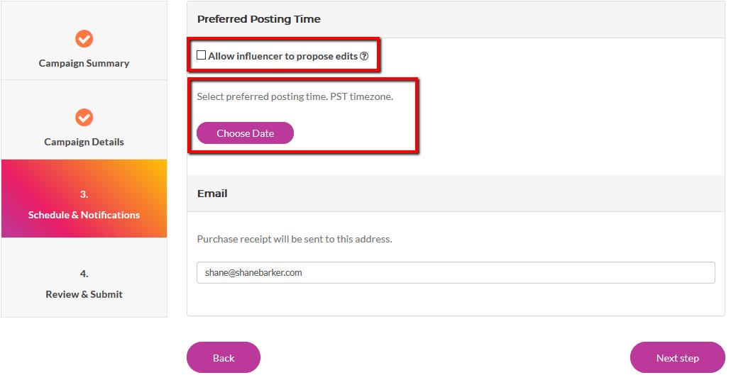 Add Details Regarding Schedule and Notifications