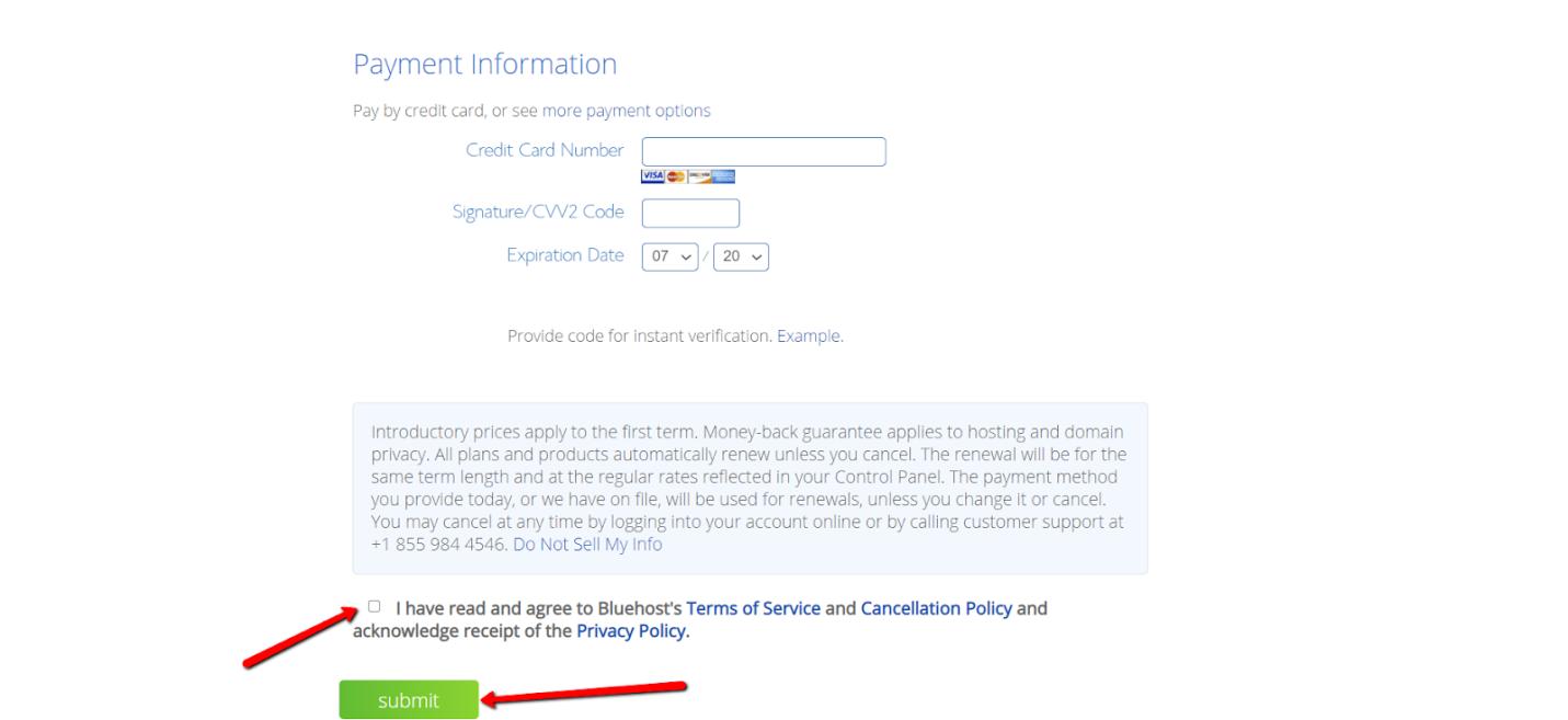 Bluehost Payment Info