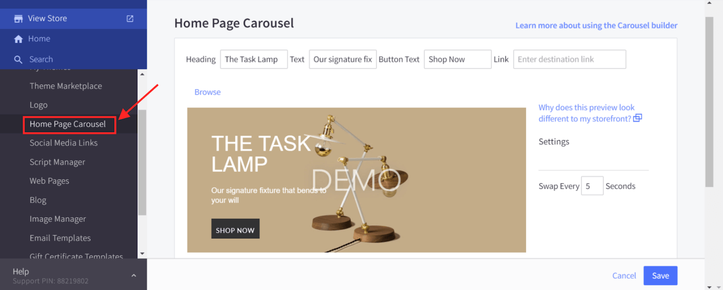 Home Page Carousel