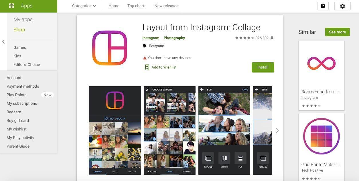 Layout Instagram Business Tools