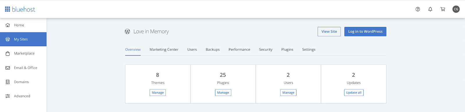 Bluehost website manager