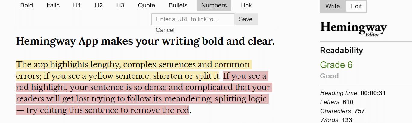 Hemingway Editor Best Writing Tool