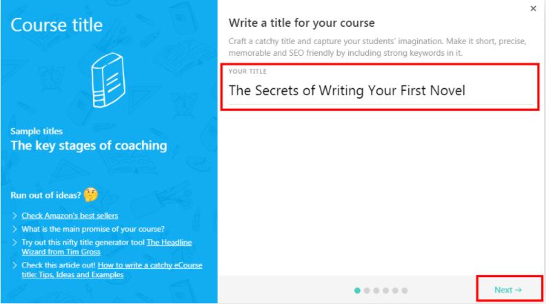 select a course title