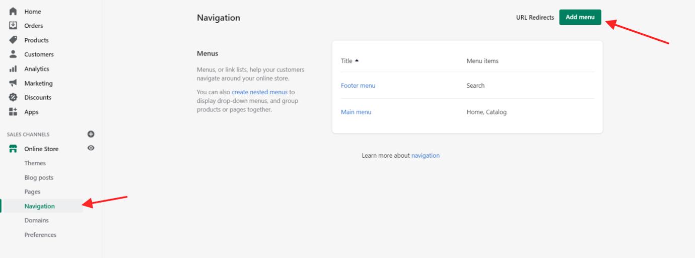 Online Store Management Navigation