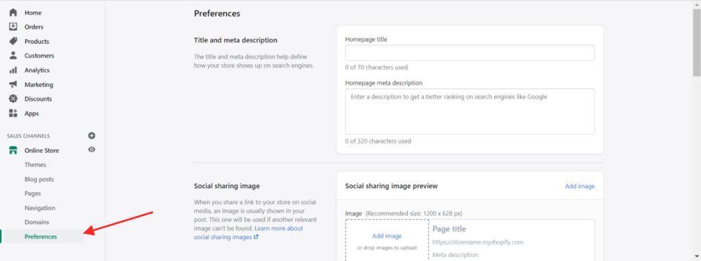 Online Store Management Website Preferences