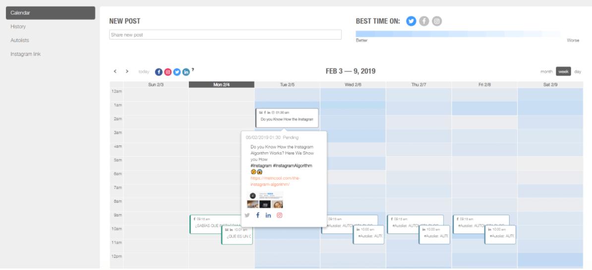 Metricool Visual Content Calendar
