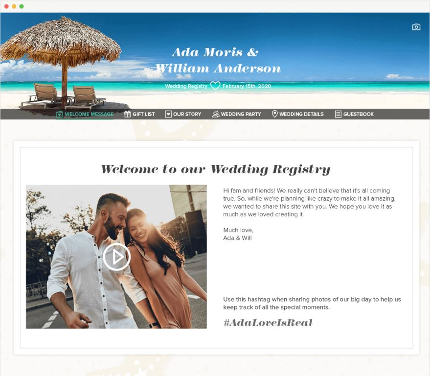 Wedding Website My Registry