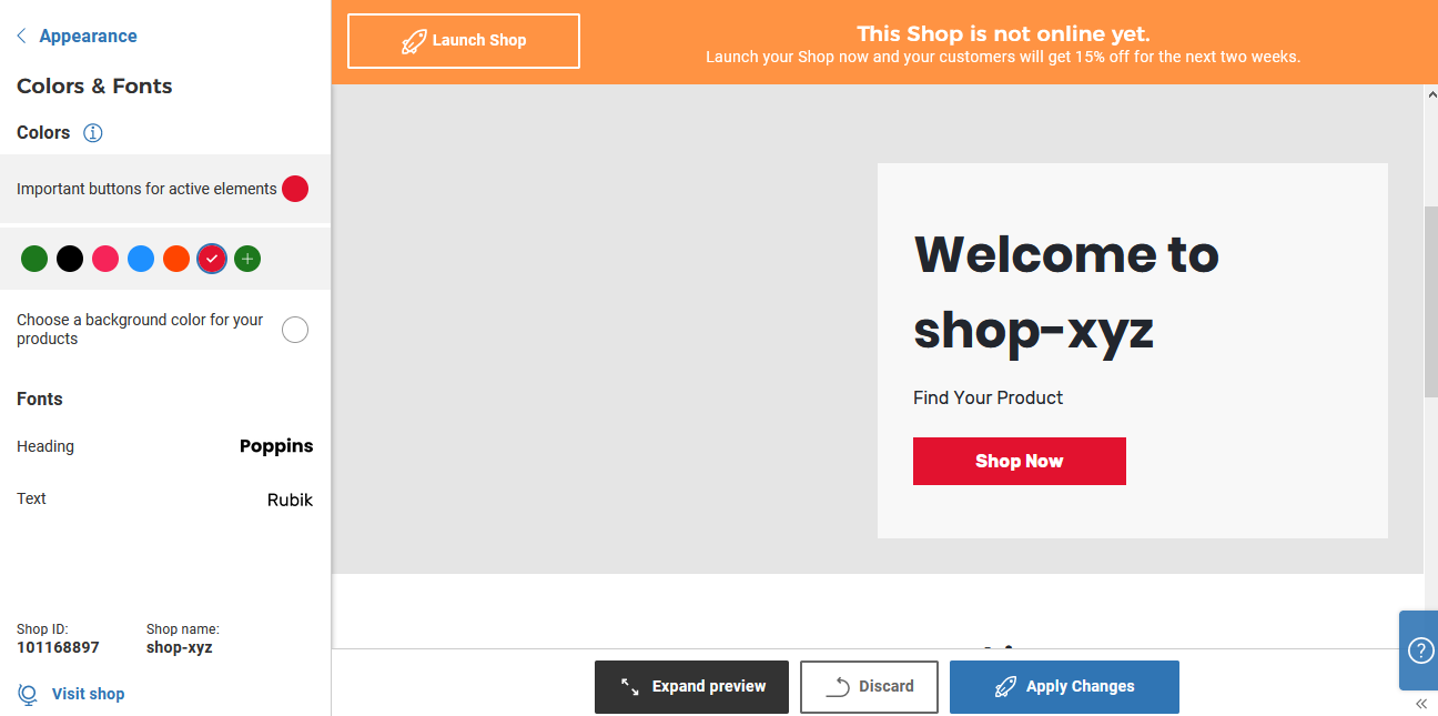 Spreadshop preview of your page