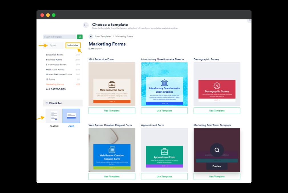 jotform built in template options