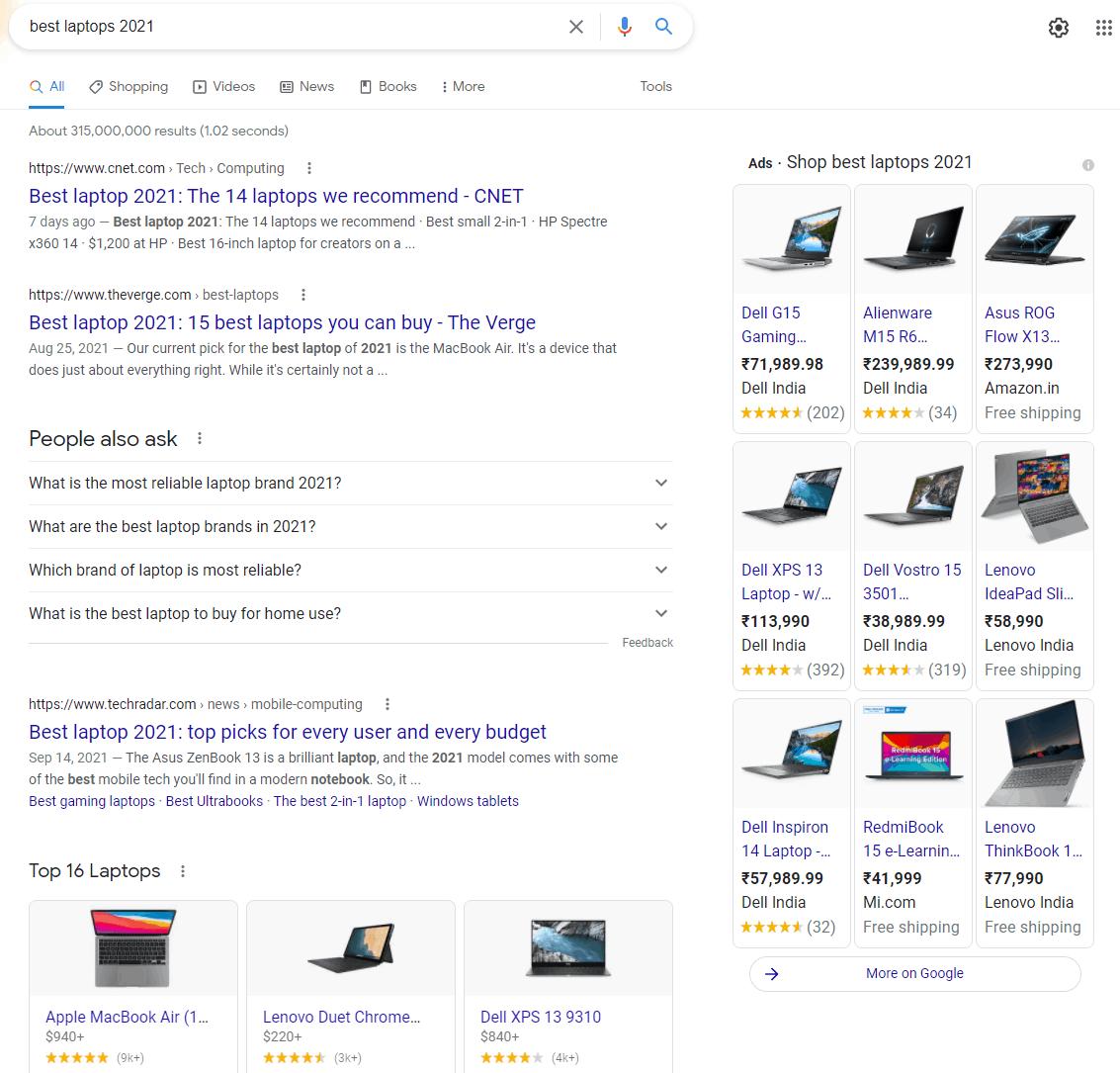 google search best laptops 2021