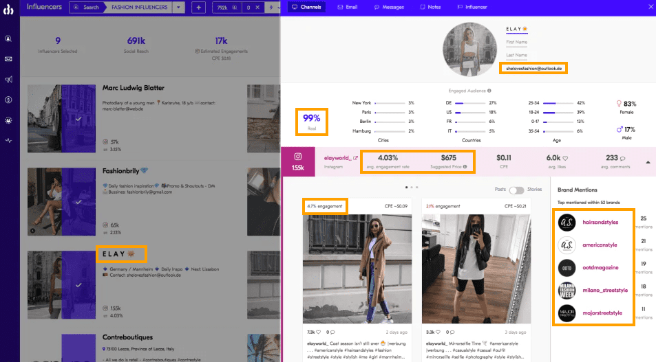 upfluence find similar data about relevant influencers in your niche